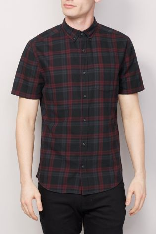 Buy Black Short Sleeve Check Shirt from the Next UK online shop