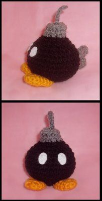 Amigurumi crochet Bomb Omb, via WolfDreamer off the Hook blog at wolfdreamer-oth.blogspot.com/2009/04/bombomb.html