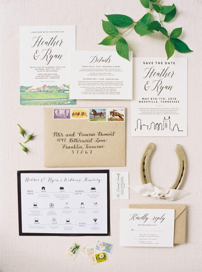 Nashville horseshoe wedding invitation paper suite: http://www.stylemepretty.com/2016/11/11/derby-day-wedding-in-nashville/ Photography: Cassidy Carson - http://www.cassidycarsonphotography.com/#cassidy-carson-photography
