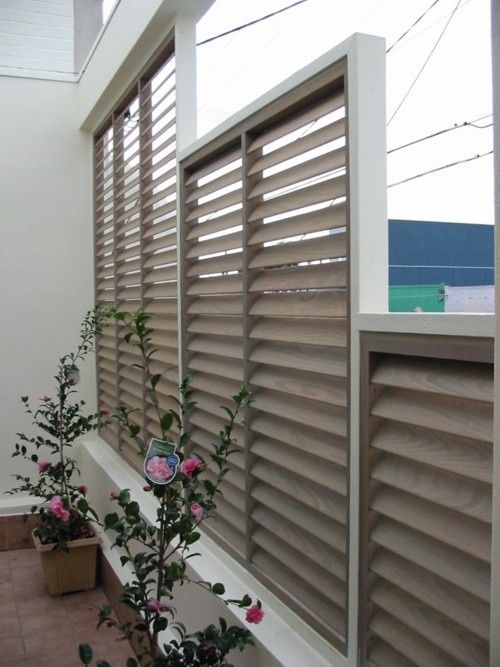 privacy screen patio | Patio Fixed Blade Privacy Screen - Shutters and Screens, Solar Shades ...