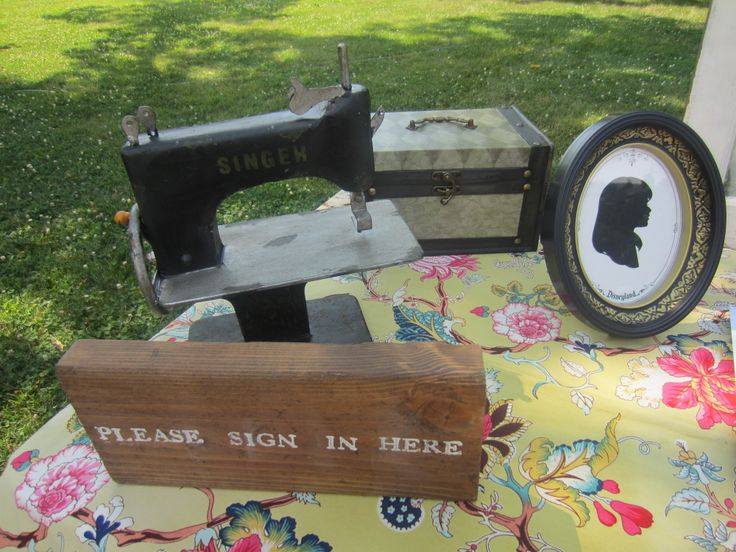 vintage sewing machine wooden sign vintage case and