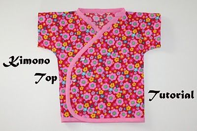 Kimono top pattern. I want to add to the bottom and make a sleep sack. Also, I want to add to the sides so they will reach to the side seam of the back. Then I wont need snaps or buttons.