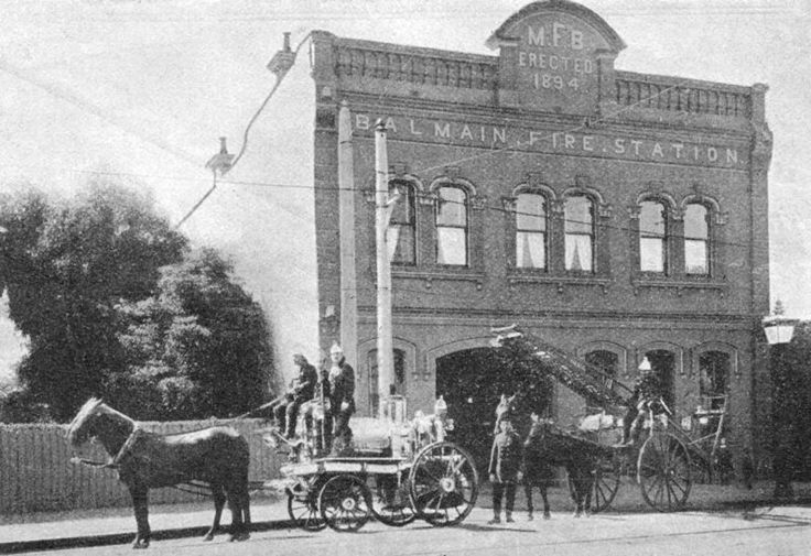 Balmain Fire Station, in Sydney (Photo date unknown). possibly ca.1900's. Hasn't changed a bit. v@e