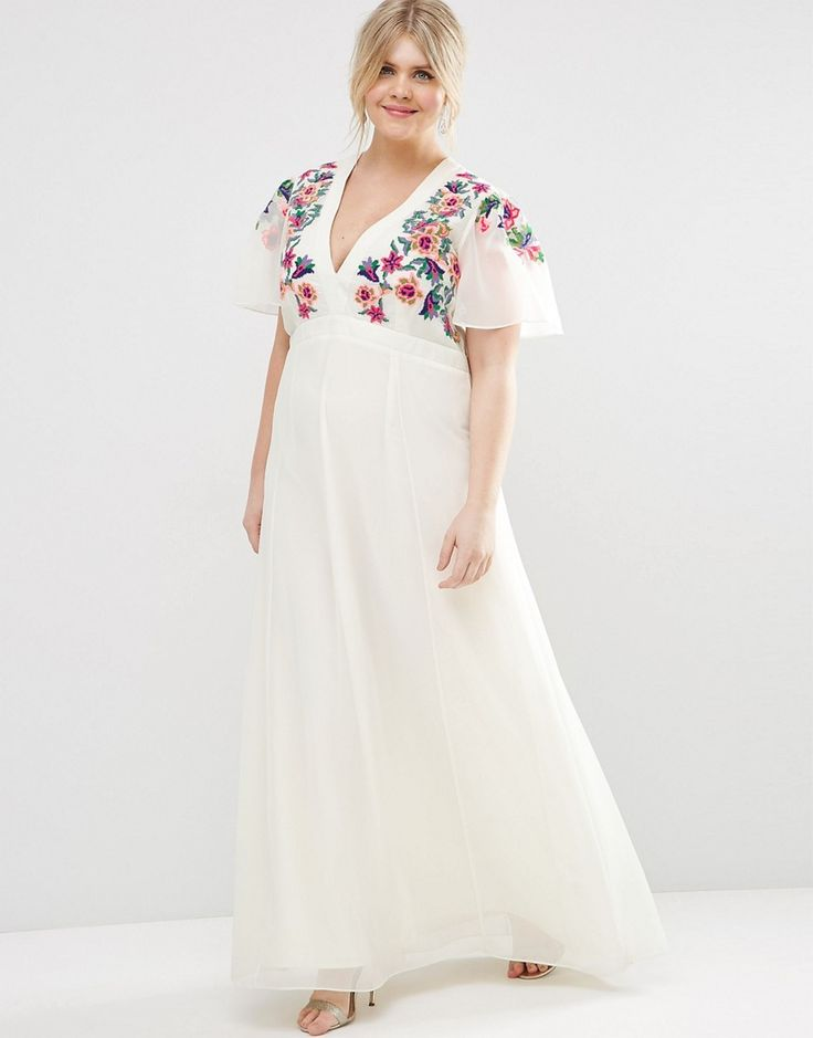 Image 4 ofASOS CURVE Maxi Dress with Cross Stitch Embroidery