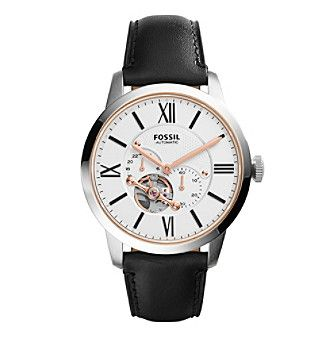 Fossil® Men's Townsman Automatic Watch In Silvertone With Black Leather Strap