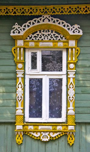 Suzdal, Russia. Traditional decorative carved wood window frame, Suzdal, Russia | architectural details.