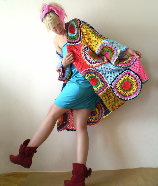 Wish I owned this technicolour crochet coat!