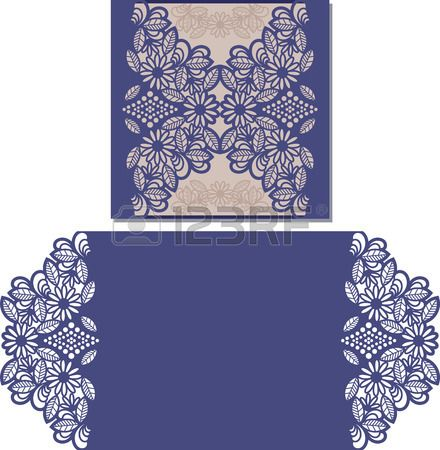 Paper cut out card Laser cut pattern for invitation card for wedding Paper cutouts Wedding invitatio Stock Vector