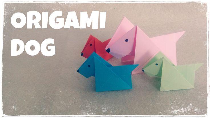 Origami for Kids - Origami Dog Tutorial (Very Easy) - VOY HA HACER ESTE COLGANTE - Luego lo protego con MOD PONGE Y .....FANTASTICO!!!!