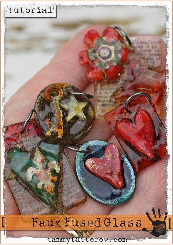 45 best ranger ink melt art images on pinterest melting pot tammy tutterow tutorial faux fused glass pendants mozeypictures Gallery
