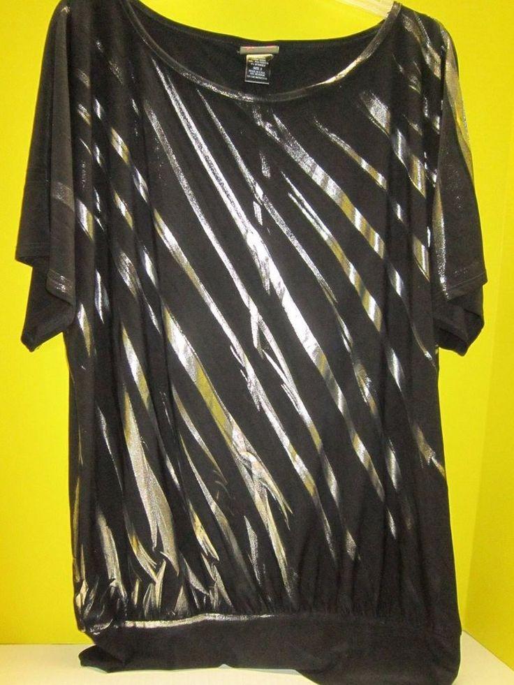 NWOT Womens TORRID Stretchy Black Silver Short Sleeve Top 2 2X #Torrid #Blouse