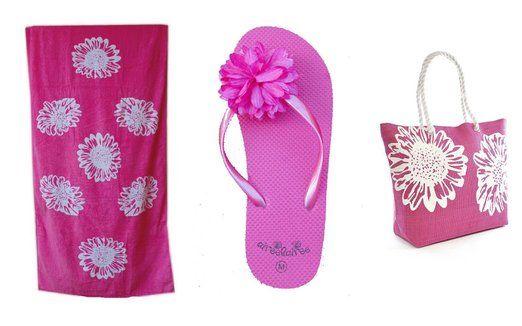 Spiaggia di Ladies Womens ragazze 3 pezzi impostare - Pattern floreale - spiaggia grande borsa + telo mare + sandali / infradito