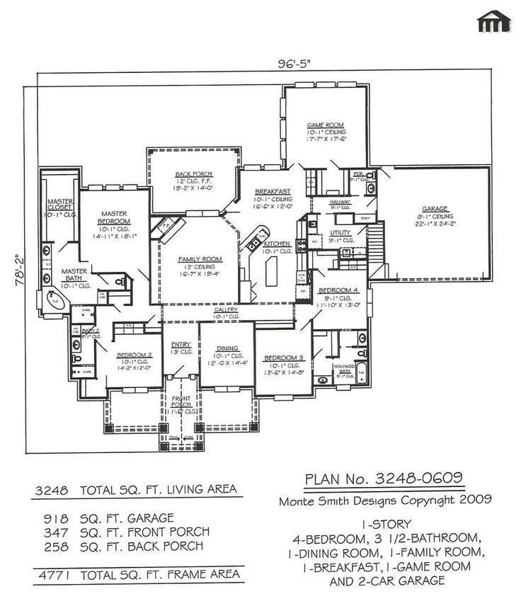 1 story 4 bedroom 3 5 bathroom 1 dining room 1 family - Single story four bedroom house plans ...