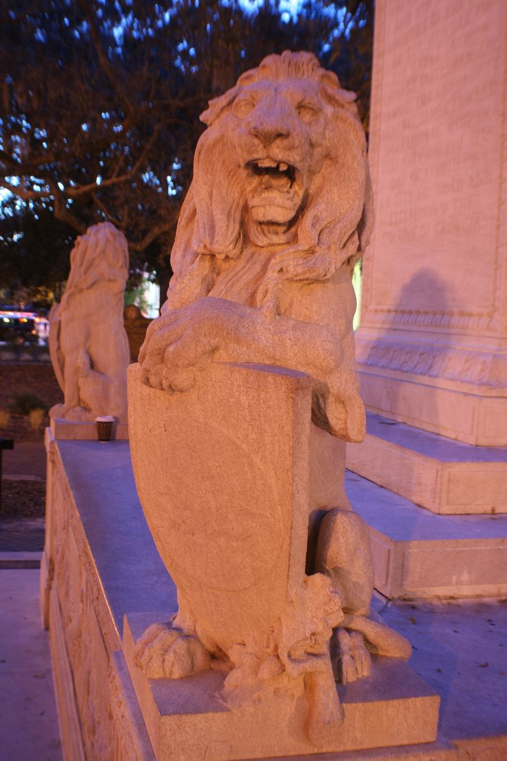 Lions at the base of General Oglethorpe's monument in Chippewa Square, Savannah GA