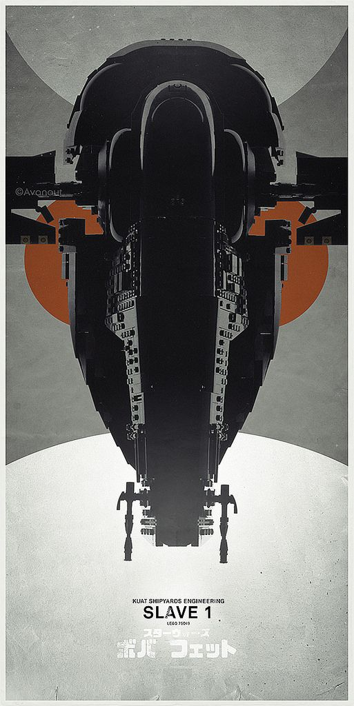 https://flic.kr/p/s92pyN   Slave 1 Lego UCS Poster   I've had this on my desktop for a while now and I decided to call it done. It's a new version of an older Slave 1 poster.  I still couldn't help cropping the side wings out of  the frame. Sigh.