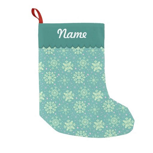 Personalized Christmas Teal & Pink Snowflake Pattern Stocking. Designed by Kristy Kate www.kristykate.com.