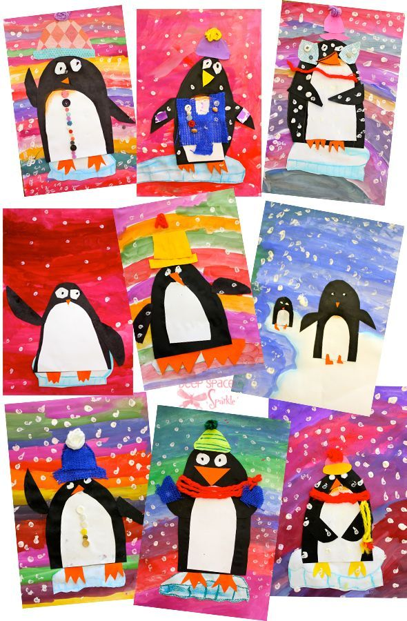 Vibrant Penguin Art Project paint the background, cut a U in black and a smaller one in white for the body, cut 2 Ds for the arms, use blue chalk/pastel to draw an iceberg then cut it out and glue onto picture with penguin glued to iceberg - then intro mixed media items for decorating (yarn, buttons, white paint for finger paint snowflakes...)