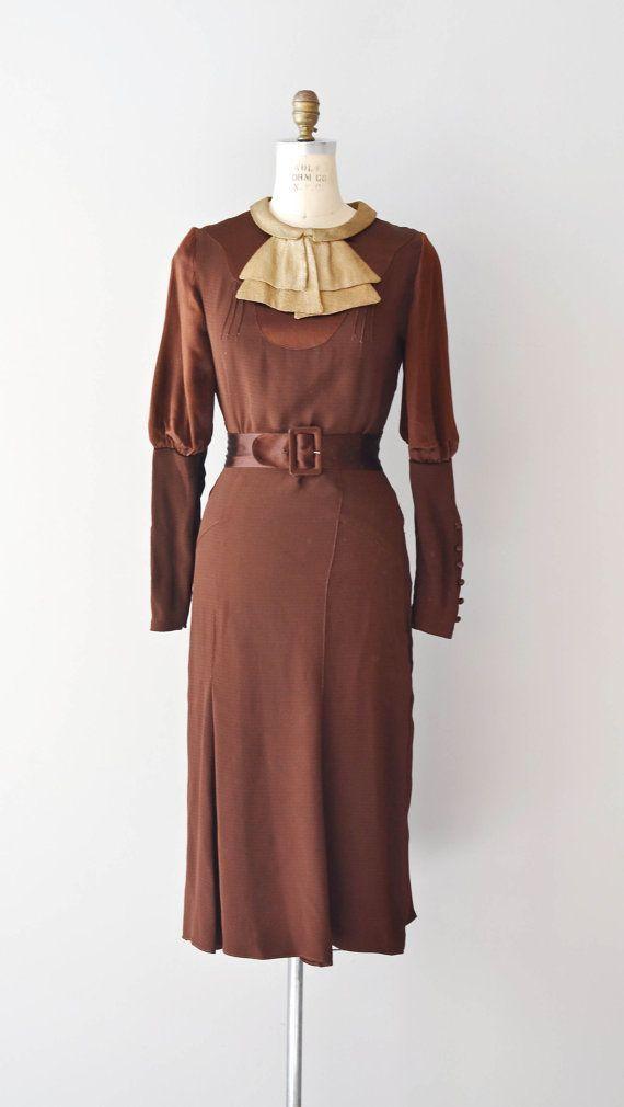 brown + cream 1930s dress / bias silk satin 30s dress