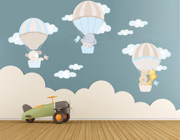 Wandtattoo aus Heißluftballons, Wandaufkleber für's Kinderzimmer / wall tattoo made of hot air balloons, wall sticker for children's room made by labandadelriccio via DaWanda.com