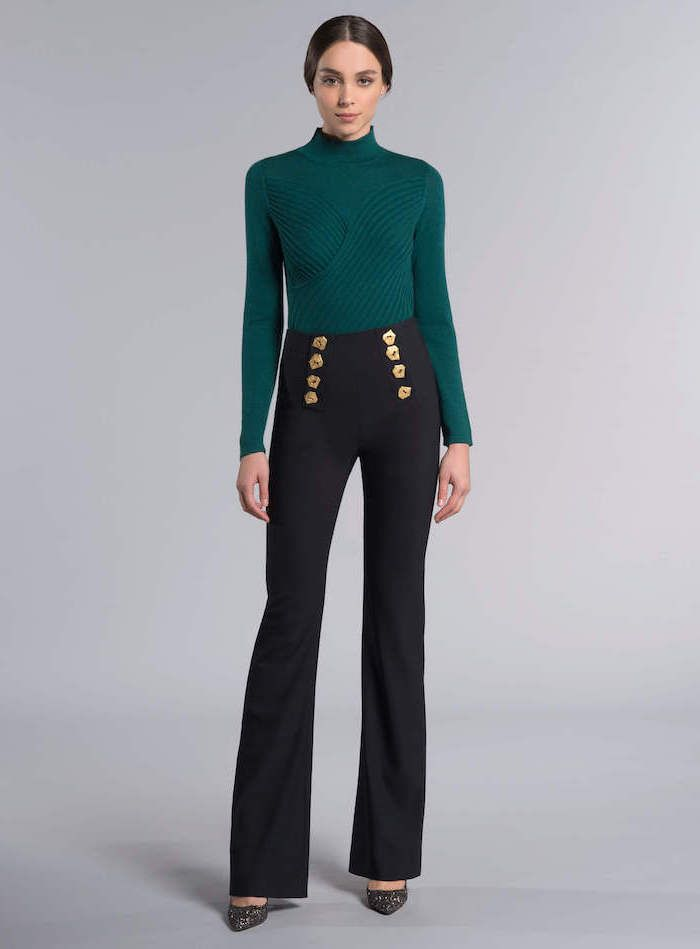 e4821b85fd green turtleneck, what is business casual for women, high waist black  trousers, black pointed heels