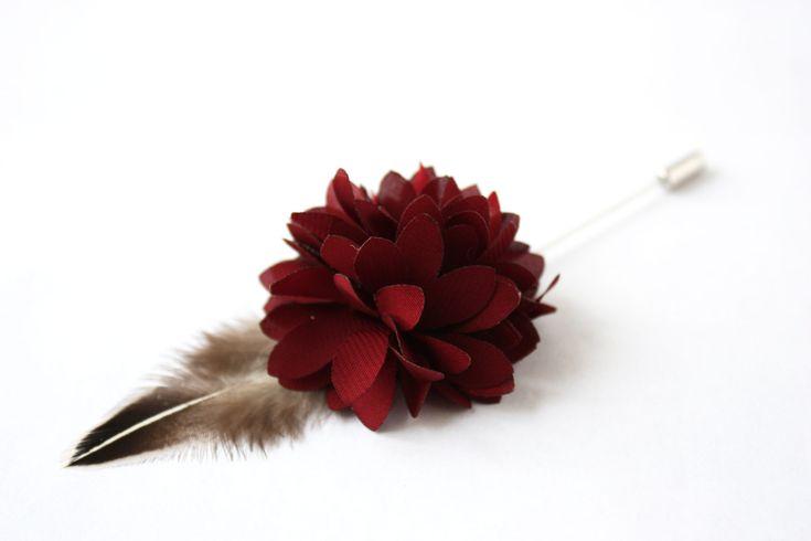 Flower and Feather Lapel Pin - Wedding Boutonniere - Burgundy Dahlia Flower and Grey Junglefowl feather - Dapper Men Wedding Groom by TheGreyDeer on Etsy