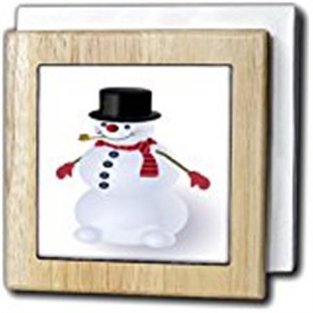 3dRose Jolly snowman cartoon with top hat and scarf, Tile Napkin Holder, 6-inch