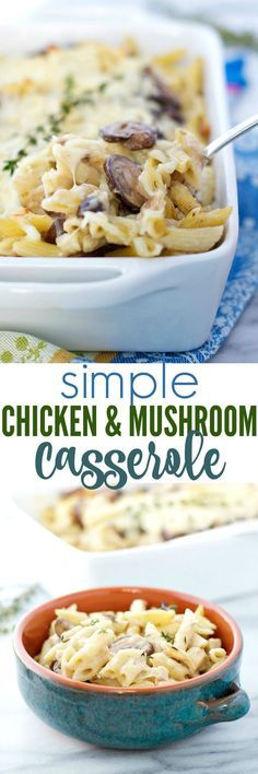 For a quick, easy, and delicious comfort food dinner that the whole family loves, you can't go wrong with a Simple Chicken and Mushroom Casserole! It's a one dish meal that pleases even the pickiest palates!