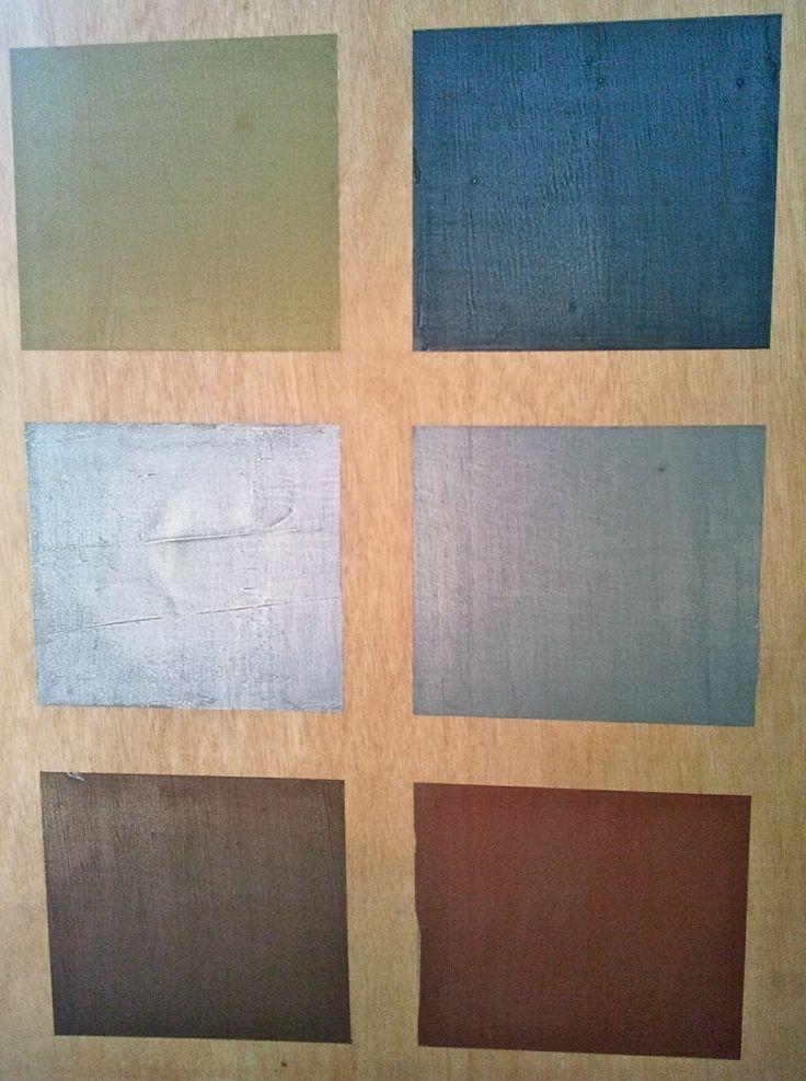 Das sind die Farben Béton Metali: Gold, Eisen, Zinn, Alu-hellgrau, Bronze und Kupfer. Alle bei betoncire.at