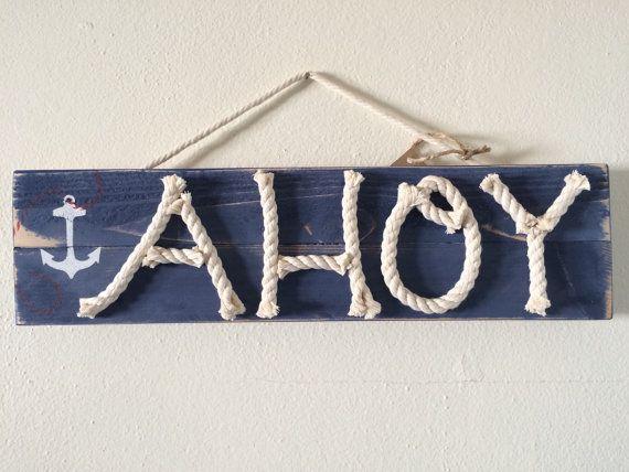 Distressed AHOY nursery wood art - nautical wood sign - coastal home decor - nautical rope sign - nautical nursery