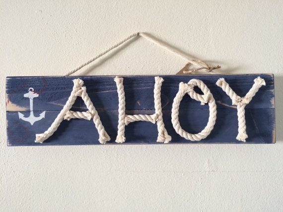 Distressed AHOY nursery wood art - nautical wood sign - coastal home decor - nautical rope sign - nautical nursery