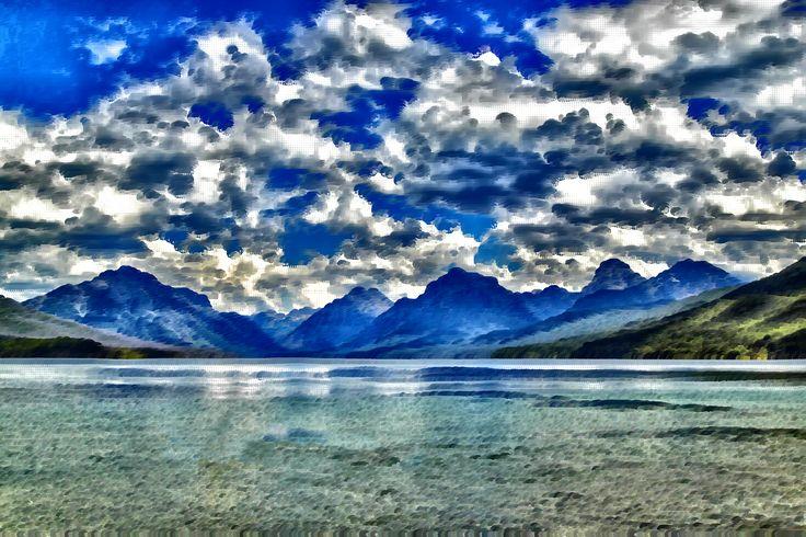 Surreal Lake McDonald Montana by @GDJ, Surreal Lake McDonald Montana derived from https://pixabay.com/en/lake-mcdonald-landscape-kayaking-1583657/, on @openclipart