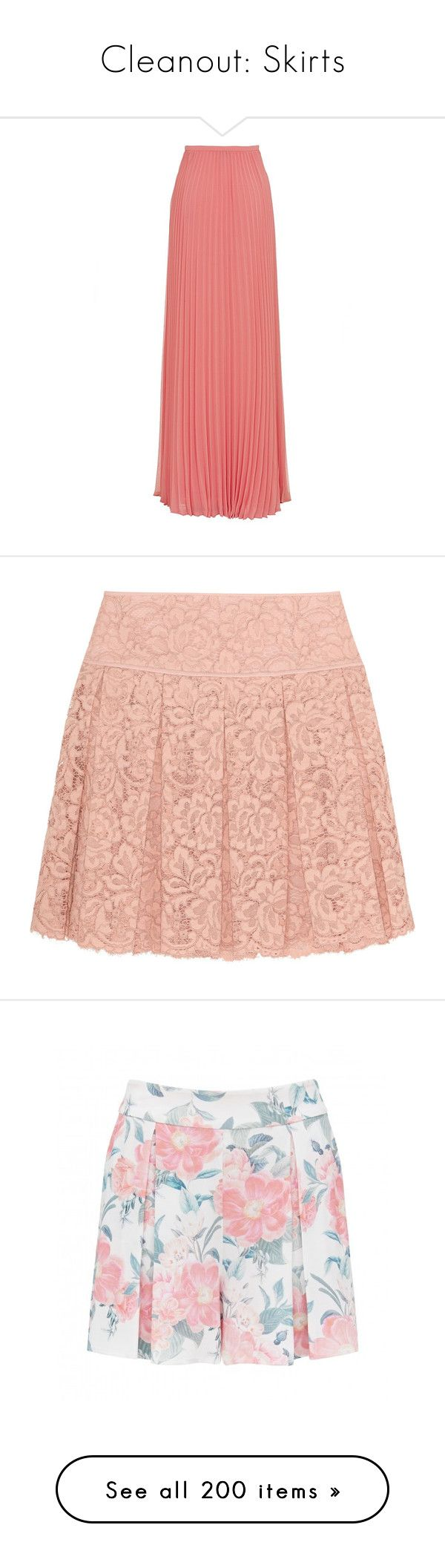 """""""Cleanout: Skirts"""" by mscody on Polyvore featuring women's fashion, skirts, maxi skirts, bottoms, long pink skirt, pink skirt, long pleated skirt, long skirts, halston heritage skirt and mini skirts"""