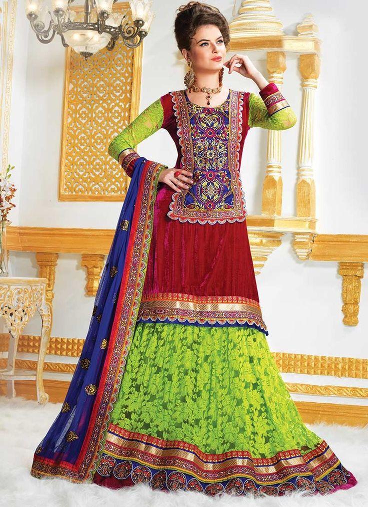 Green Net Jacquard Long Lehenga Choli