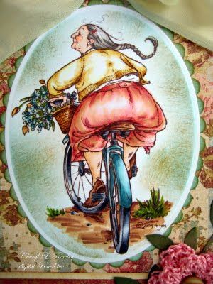 """Mo Manning digi Mummu's bike - Copics used:  Yellow: Y0000, Y21, YR21, YR24  Aqua: BG0000, BG10, Bg72  Rose: E93, R30, RV42, R32, R24, E53  (The pinks were just too bright. Don't forget when you don't want a bright color you can """"tone it down"""" with a light grey or brown.)"""