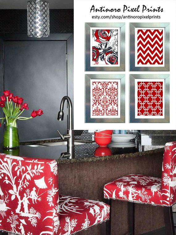 Red Grey Black White Greys Unframed Kitchen By Antinoropixelprints 3500