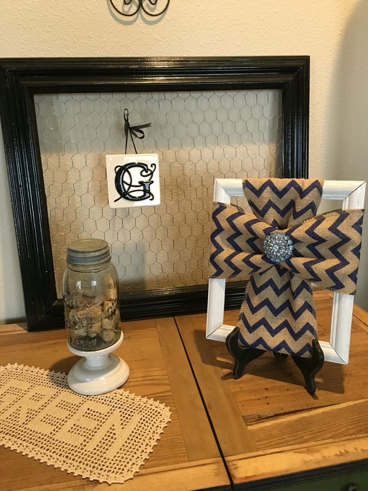 An old picture frame burlap and a