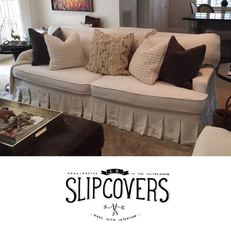 Cream Linen Sofa Slipcover With Box Pleat Skirt And Welt Cord Edging By LS  Slipcovers