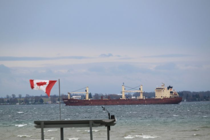 Wicko downbound passing Cape Vincent , safe trip today , winds, rain and internet issues : )
