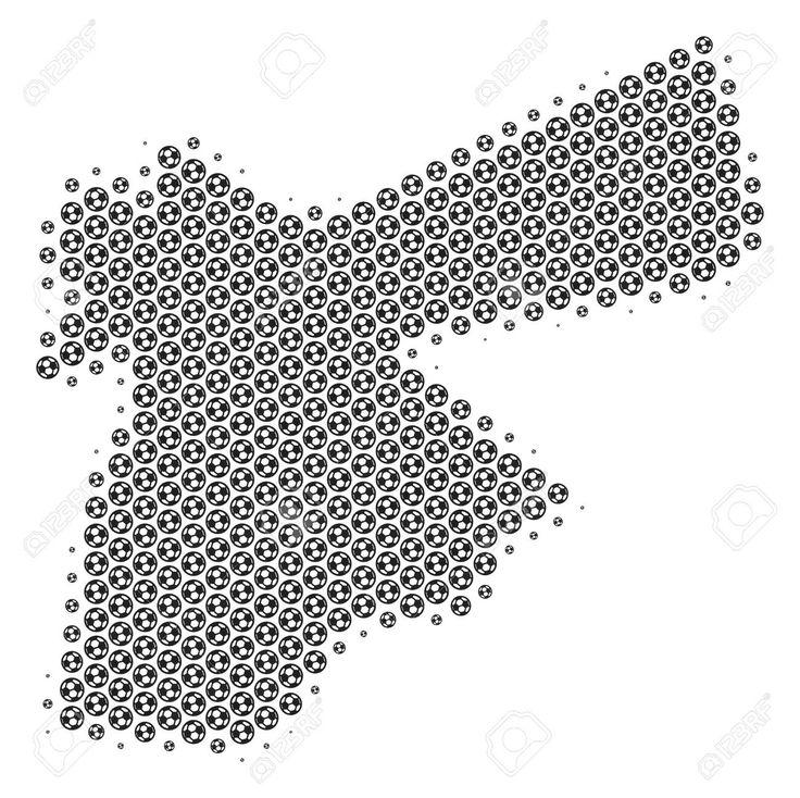 Football ball Jordan map. Vector territory plan in grey