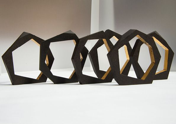 Collection | Rosalie McMillan : Made from up-cycled coffee grounds and gold leaf using Re-worked's sintering Çurface technology to make super beautiful and high value products from spent coffee grounds.