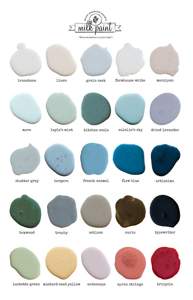 Miss Mustard Seed's Milk Paint color chart, including all the new Euro colours and the new Farmhouse White (due 2016).