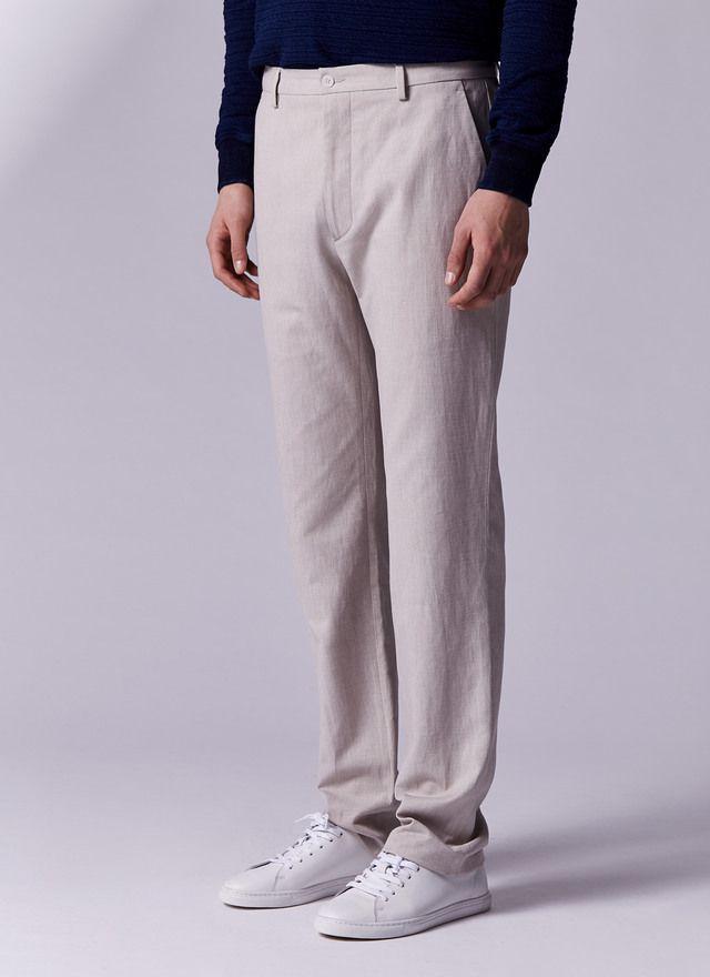 Pantalón en piqué de lino y liocel | Hombres, Pantalones, Ropa