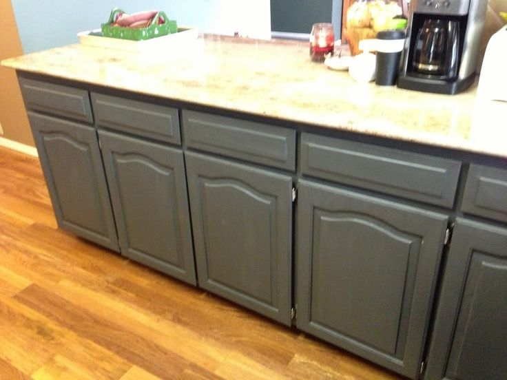 Using Chalk Paint to Refinish Kitchen Cabinets---Homemade recipe for chalk paint and used Sherwin Williams deck sealer to seal and harden/protect the paint.