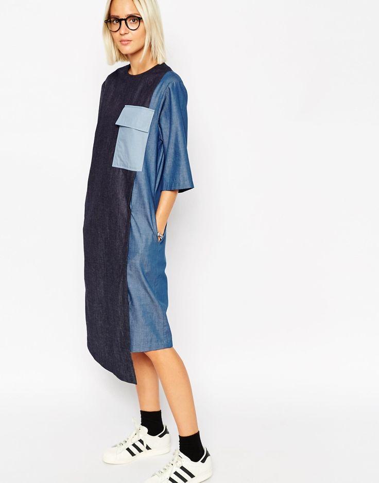 Denim color block // ASOS WHITE Denim Midi Dress with Panel Detail