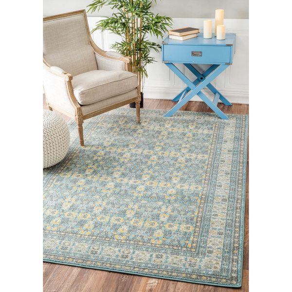 cool nuLOOM Vintage Floral Chain Aqua Rug (5'3 x 7'9) Check more at http://yorugs.com/product/nuloom-vintage-floral-chain-aqua-rug-53-x-79/