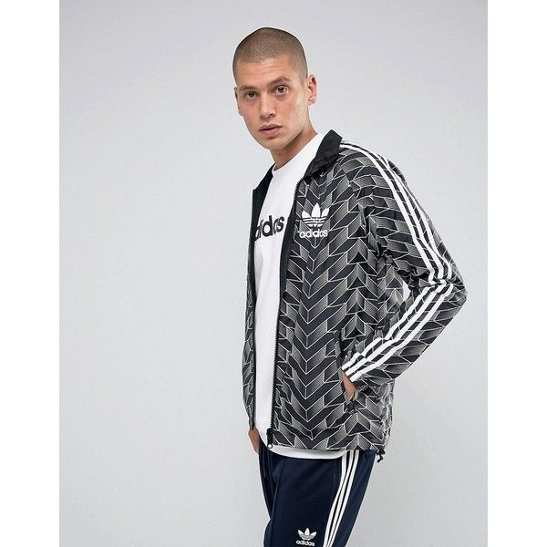 adidas Originals Reversible Soccer Windbreaker In Black BS4894 ($105) ❤ liked on Polyvore featuring men's fashion, men's clothing, men's activewear, men's activewear jackets, black and adidas originals