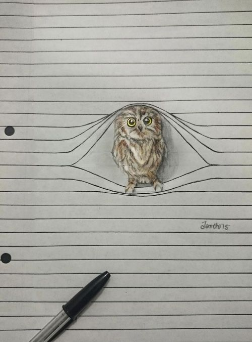 "My Owl Barn: Animal Drawings Between The Lines These adorable pencil drawings are by Iantha Naicker a young artist from Durban, South Africa. Her series ""Animals that don't want to stay between the lines"" is a collection of animals drawn on lined paper with color pencils or watercolors."