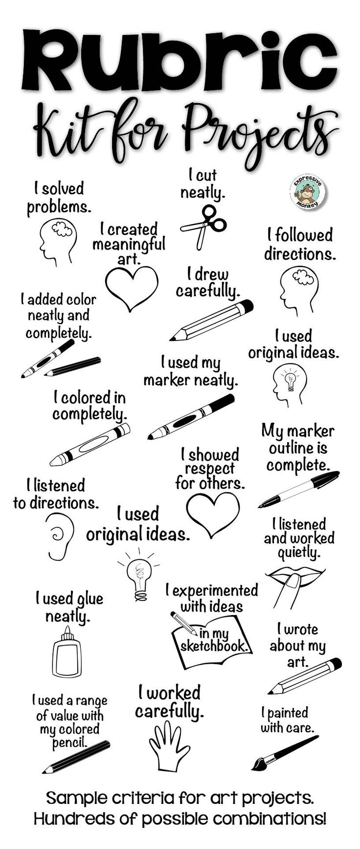 Illustrated criteria makes filling out rubrics easier and better for visual learners. - art rubric - getting quality work done - rubric kit - assessing elementary art -