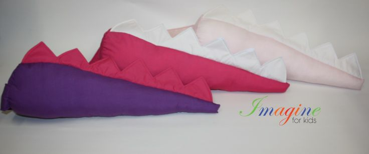 Our dinosaur tails are not just for the boys.  Here we have 3 different girl tails in purple/hot pink, hot pink/white and pale pink/white.  To order yours contact us at Imagine For kids at sales@imaginekids.com.au  www.fb.com/imagine4kids