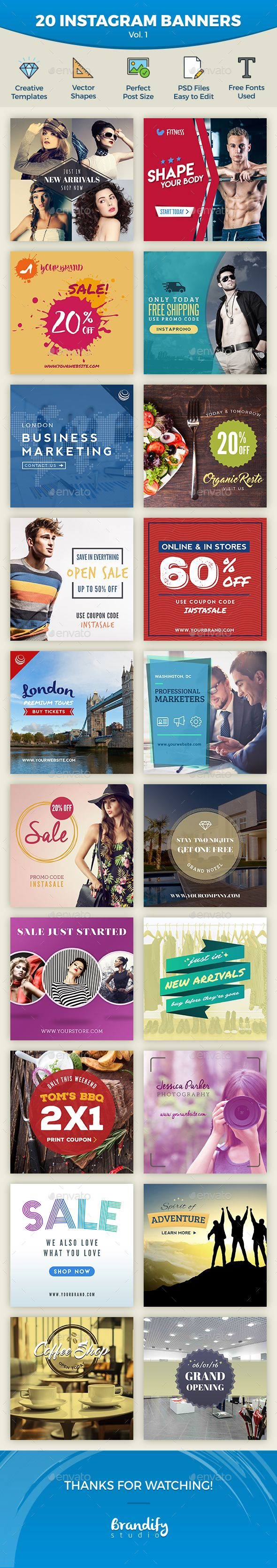 Download Free Graphicriver Instagram Promotional Banners #banner #business #clothing #corporate #coupon #deal #discount #fashion #fashionsale #insta #instagram #instagrambanner #instagrambundle #InstagramPromo #instagramsale #newarrival #promote #promotion #promotional #sale #sales #socialmediabanner #squarebanner